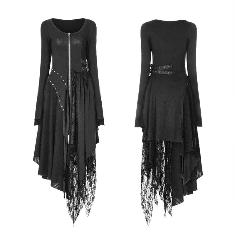 eea1603ffe4 Robes Femmes Asymétrique Punk Femelle Rave Coton Noir Tricotée Mode En  Sorcière Black Dentelle Dreses Gothique ...
