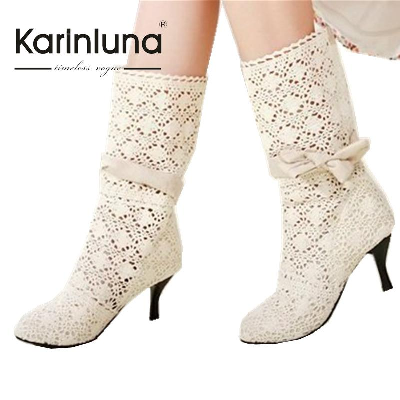 ФОТО women Factory sell 2016 sexy high heel summer boots fashion cutout bow woman dress shoes woman big size 34-43 hot sale JSA375