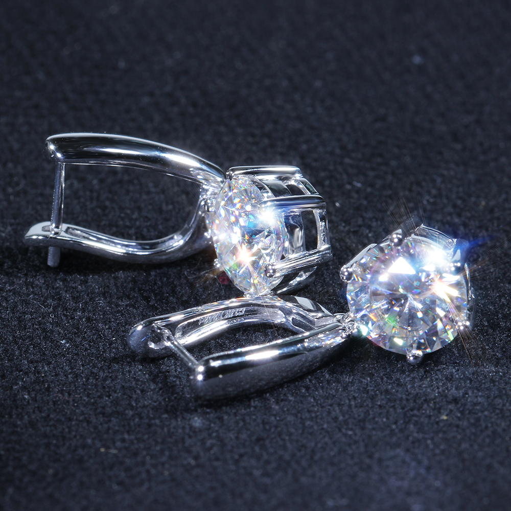 DovEggs Classic Sterling Solid 925 Silver 2CTW 6 5MM GH Color Moissanite Drop Earrings for Women Party Dangle Ladies Earrings in Earrings from Jewelry Accessories