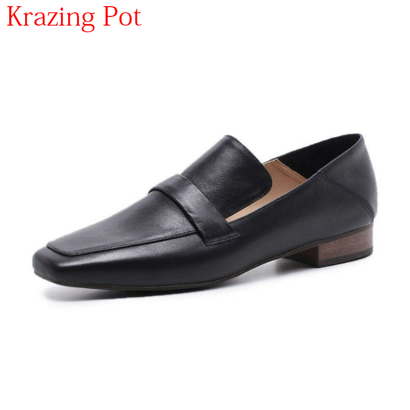 2018 New Arrival Brand Spring Shoes High Street Solid Women Flats Square Toe Slip on Elegant Causal Retro Lazy Casual Shoes L24