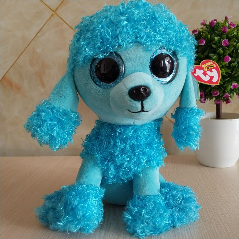 """MANDY blue poodle TY BEANIE BOOS collection 25CM 10"""" BIG"""