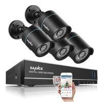 SANNCE 4CH Uitgang Onvif Ondersteund DVR Waterdichte 720 P 1.0MP Nachtzicht Camera Cctv-systeem Surveillance Kits Met 4 Camera