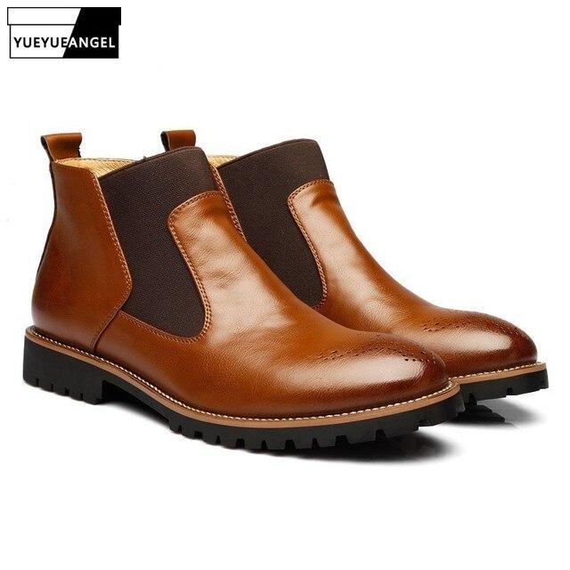5ba571a5e5 Herbst High Top Männer Schuhe Pelz Futter Plus Größe Chelsea Stiefel Retro  Arbeit Sicherheit Schuhe Männlichen
