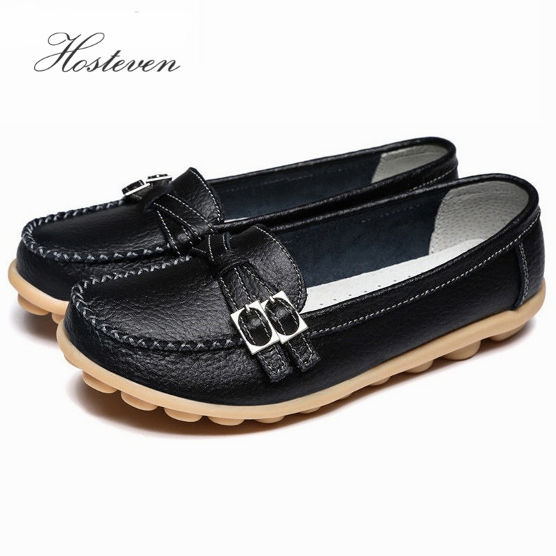 Soft Genuine Leather Women's Shoes Slip On Woman Loafers Moccasins Female Flats Casual Women Buckle Boat Shoe Plush