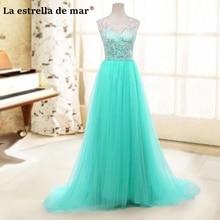 vestido de madrinha de casamento longo 2018 new tulle a Line Turquoise bridsmaid dresses  cheap Wedding party dress