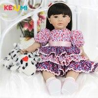 KEIUMI 24 дюймов реалистичные куклы новорожденных 60 см Силиконовые мягкие средства ухода за кожей принцессы модная одежда для девочек Кукла Де