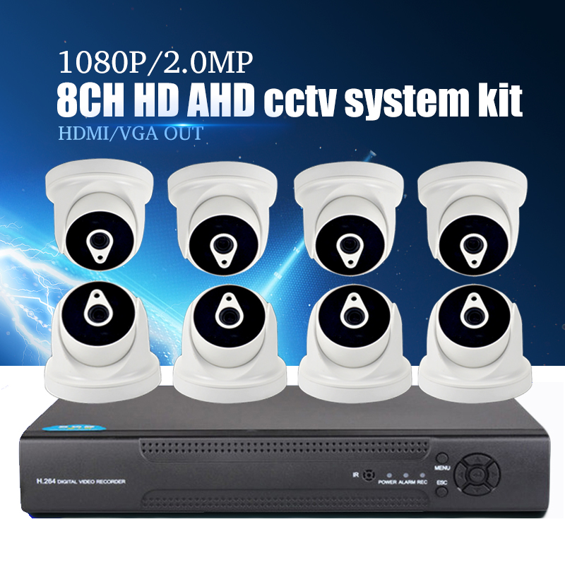 YiiSPO <font><b>8CH</b></font> 5in1 1080N <font><b>DVR</b></font> <font><b>Cctv</b></font> kit 1080 P 2MP AHD kamera 8 stücke HD koaxial <font><b>CCTV</b></font> kit HDMI VGA OUT Vedio Surveillance kit image