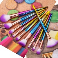 10pcs Set Mermaid Mythical Makeup Brushes Beauty Cosmetics Powder Foundation Blending Blush Eyebrow Make Up Brush