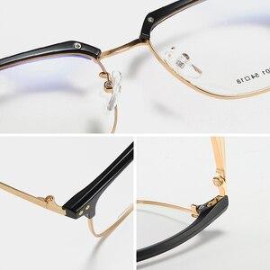 Image 5 - UNIEOWFA yarı çerçevesiz Retro optik gözlük çerçeve erkekler temizle miyopi gözlük çerçevesi kore Vintage reçete gözlük çerçevesi
