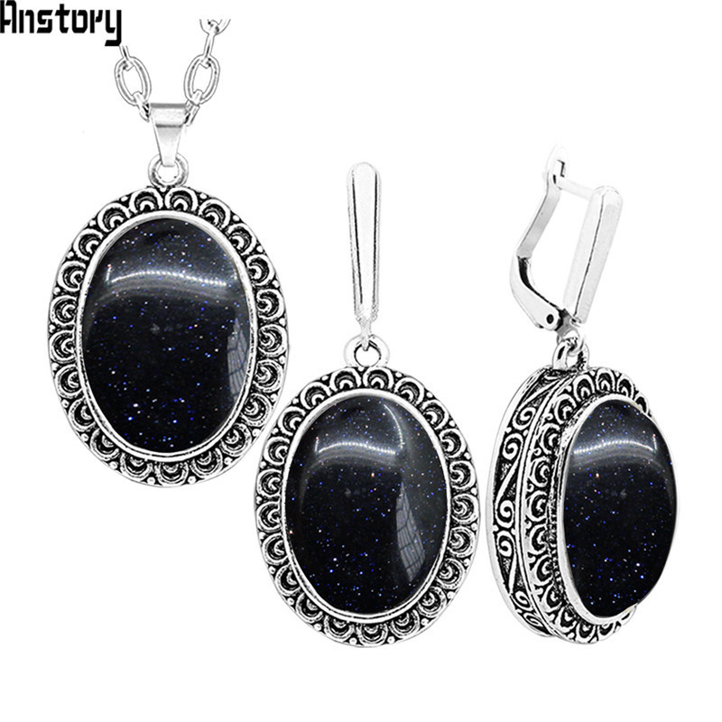 Oval Black Shinning Stone Necklace Earrings Jewelry Set For Women Stainless Steel Chain Flower Pendant Fashion Party Gift TS346