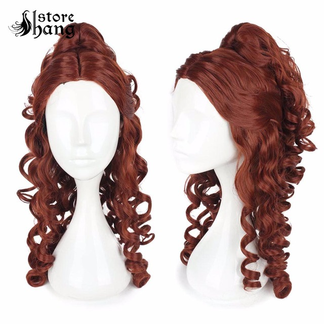 Adult Belle cosplay Beauty and the Beast Princess Belle Cosplay  Brown Curly Heat Resistant Fiber Halloween Costume Accessories