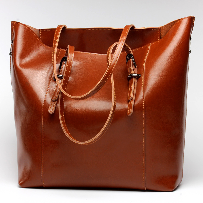 New Genuine Leather Handbags Women Cow Leather Shoulder Bags Famous Brand Design Ladies Leather Tote Bag Female Messenger Bag