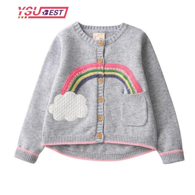 цены на Girls Clothing 2018 Autumn Spring Children Sweaters Girls Cardigan Rainbow Pattern Long Sleeve Embroidery Outerwear Kids Knit в интернет-магазинах