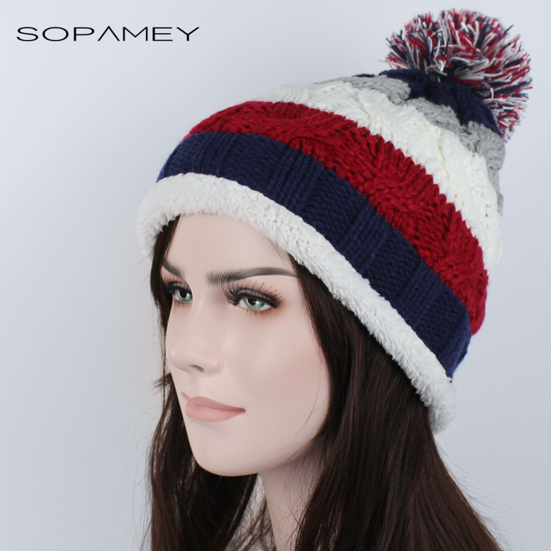 Winter Hat Skullies Knitted Thickened Women's Hat Warm Pom Poms plus cashmere for Girl Knitted Beanies Female Mixed color Cap skullies