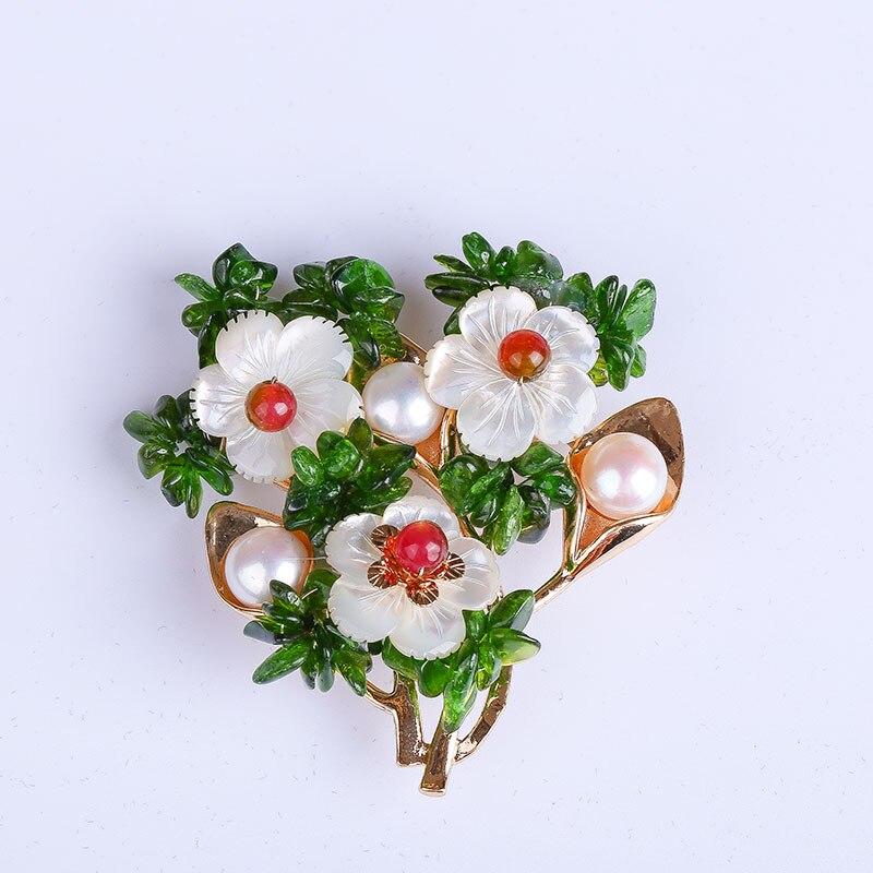 JIUDUO Original handmade 100% natural queen shell natural freshwater pearl brooch corsage pin pendant dual use natural 100