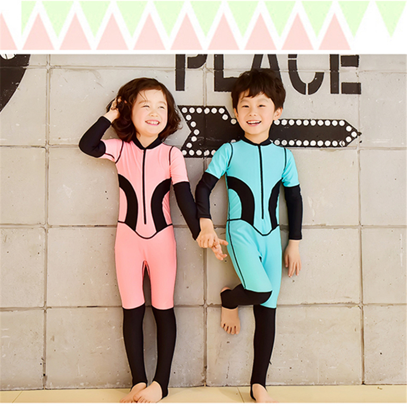 2018 Cute One-Piece Kids SwimWear Lovely UV Covered Long Sleeve Boys girls couple Bathing suit Beautiful Swimsuit,Best Quality