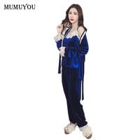 Winter Women Pleuche Pajamas Set Sleep Lounge Clothing Three Pirces Set Full Sleeve Solid V Neck 5 Colors Fashion SMT A011