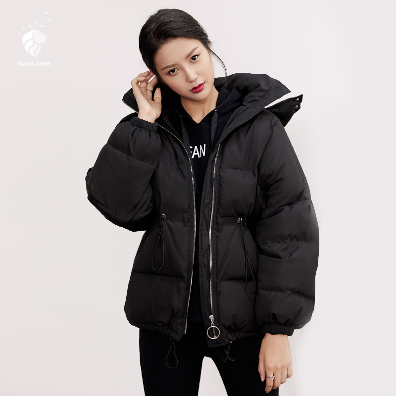 FANSILANEN 2017 Fashion New Arrival Autumn/Winter Casual Work Womens Solid Black Short Down Jackets Brands Z73154