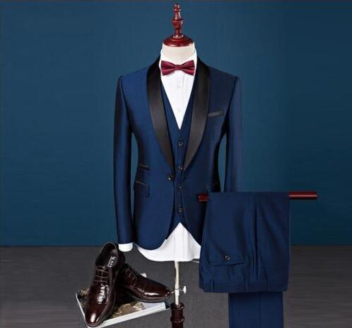 Custom Slim Fit Peak Lapel Best Man Suit Blue Groomsman Men's Wedding Prom Suits b0b