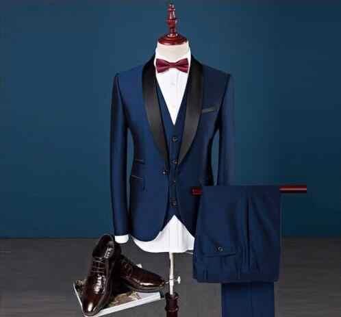 カスタムスリムフィットピークラペルベストマンスーツスーツブルー介添人男性の結婚式ウエディングスーツb0b