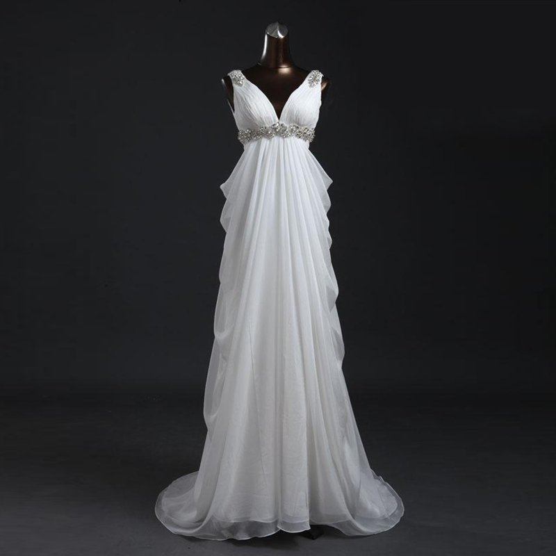 2018 new sexy V-neck chiffon dress crystal white bridesmaid dresses long long plus size bohemian bridesmaid dress real photo ...