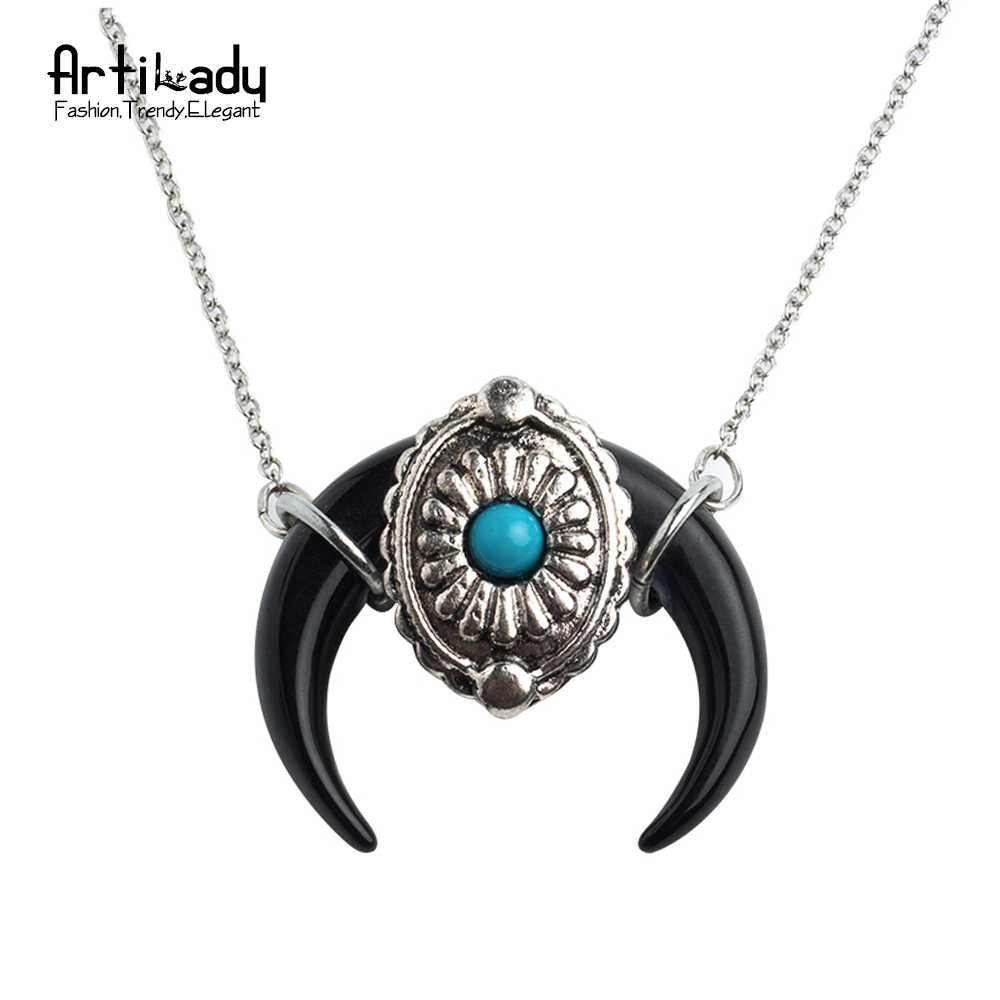 Artilady белое ожерелье с подвеской в форме рога винтажное украшение Boho серебряная цепь Черный Белый Рог ожерелье Женские Ювелирные изделия дропшиппинг