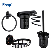 Frap Space Aluminum Black Soap Dishes Hair Dryer Holder Toilet Brush Holder Towel Rings Wall Mounted Bath Hardware Sets