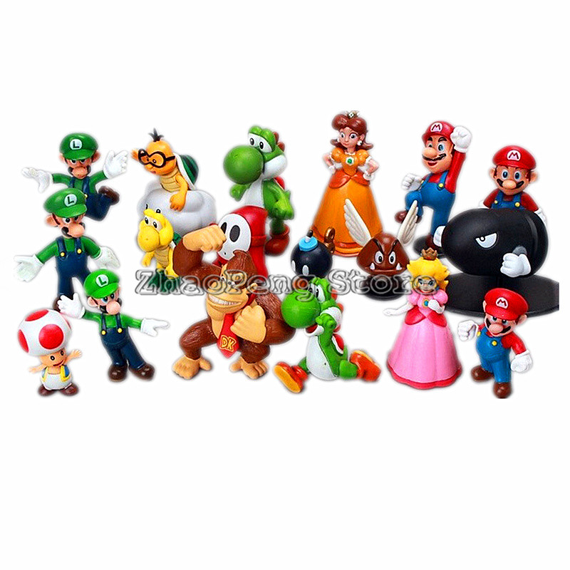 Toys & Hobbies Earnest Super Mario Bros Bowser Princess Peach Yoshi Luigi Toad Goomba Pvc Action Figure Toy Model Hot Toys For Children Free Shipping Long Performance Life