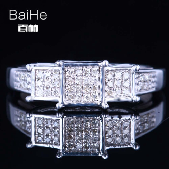 BAIHE Sterling Silver 925 0.2CT Certified H/SI3 Round cut 100% Genuine Natural Diamonds Wedding Women Trendy Fine Jewelry Ring