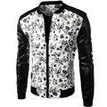 Марка Белый Искусственная Кожа Мужские Рубашки 2015 Мода Цветочный Дизайн Люди Уменьшают Мотоцикл Байкер Куртки Бейсбола Стильный Печатных Jaqueta