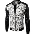 Brand White Pu Leather Men Shirt 2015 Fashion Design Floral Mens Slim Motorcycle Biker Baseball Jacket Stylish Printed Jaqueta