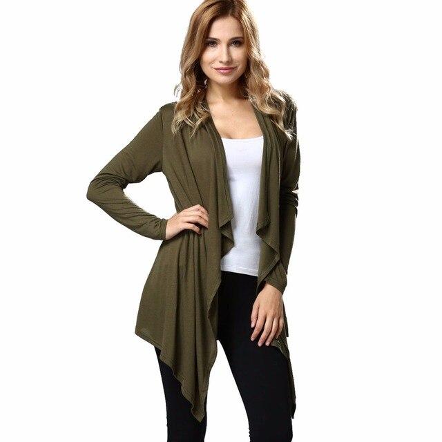 79d1c1ef50c Autumn Women's Drape Front Open Cardigan Long Sleeve Irregular Hem Thin  Loose Jacket Coat Lightweight Knit Cardigan Outwear