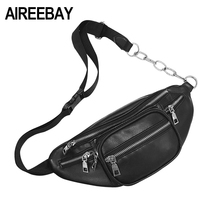 AIREEBAY Fashion Women Waist Bag Casual Black Pu Leather Chain Shoulder