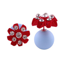 Brand Luxrious Candy Colors Rubber Double Faced Big Pearl Stud Earrings Shining Crystal Flowers Earrings For Women Fancy Jewelry