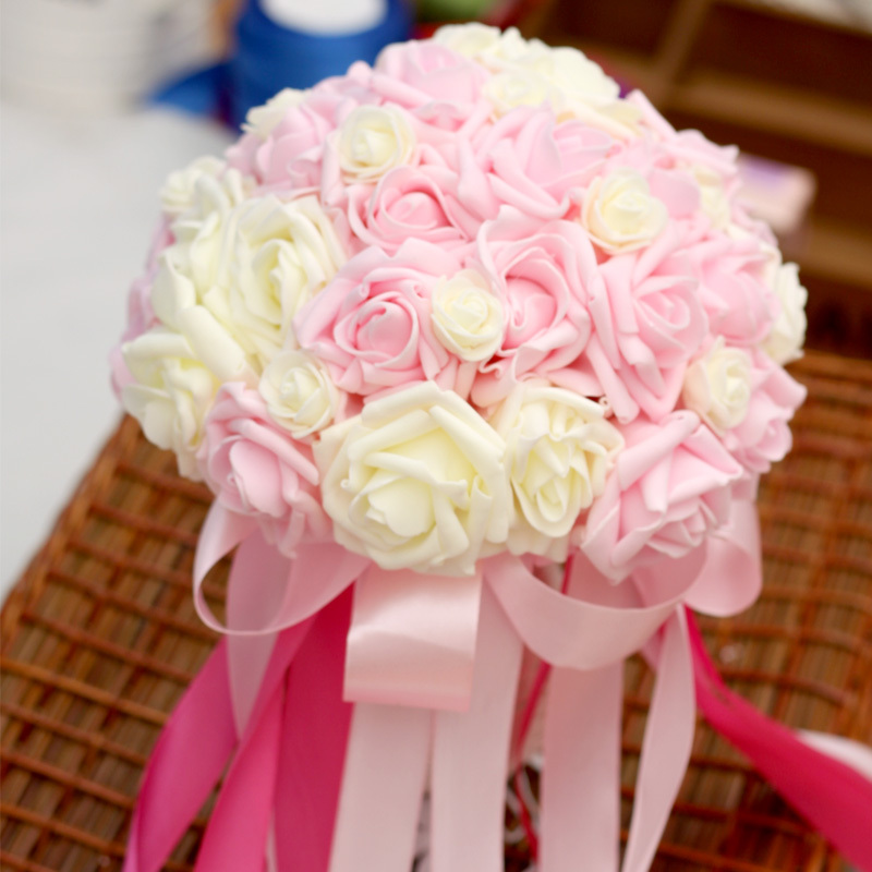 Wholesale Cheap Artificial Wedding Flower Bouquet Holder Rose