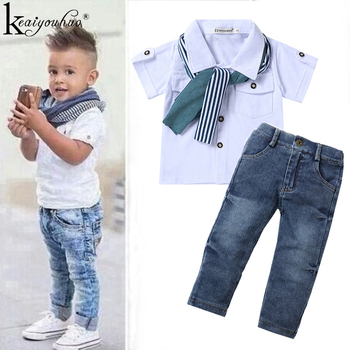 цена Toddler Boy Clothes Summer Children Clothing Baby Boys Clothes Gentleman Sets For Kids Clothes T-shirt+Jeans Sport Suits Outfits онлайн в 2017 году