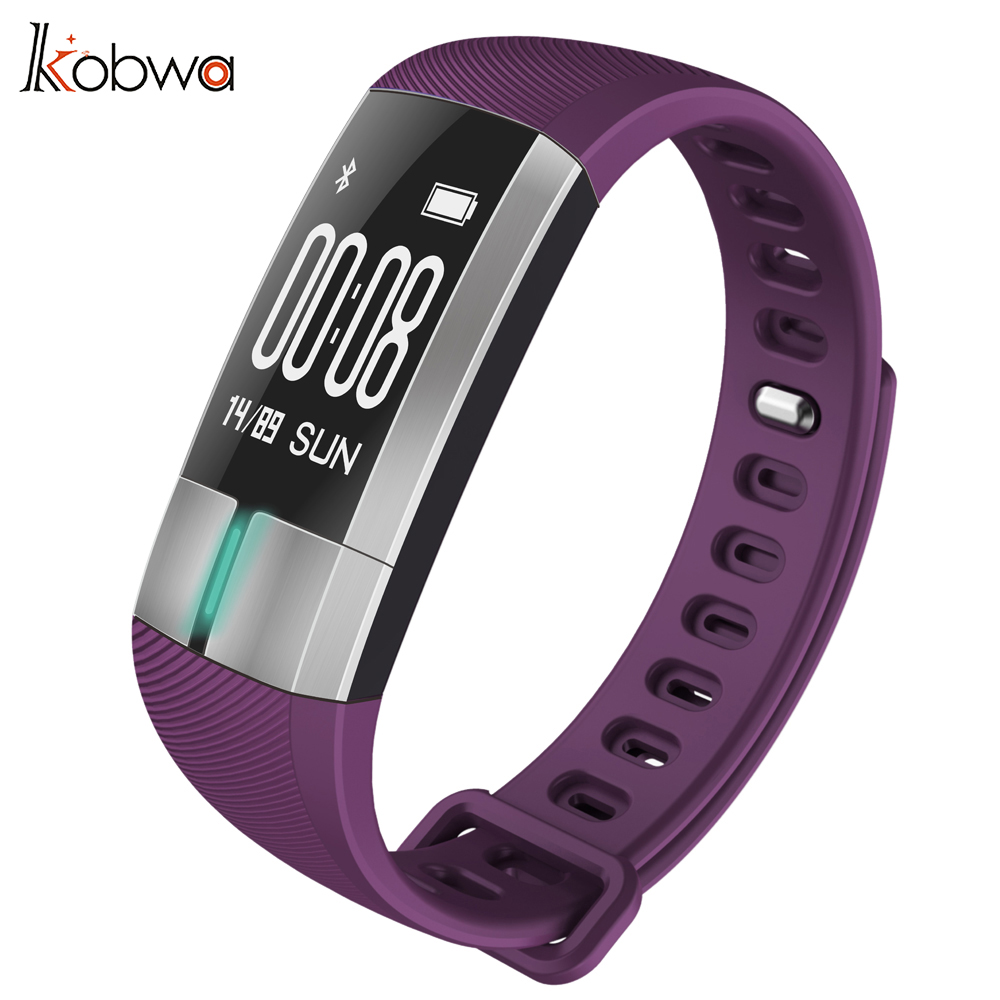 Kobwa Bluetooth Smart Bracelet Blood Pressure Heart Rate Monitor IP67 Sport Fitness Tracker Wristband For Android