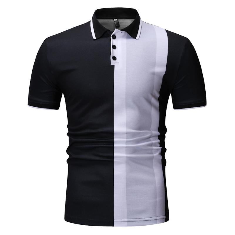 Men Polo Shirt Vertical Stripes Casual Fashion Mens POLO Clothing Tops Tees Black Navy
