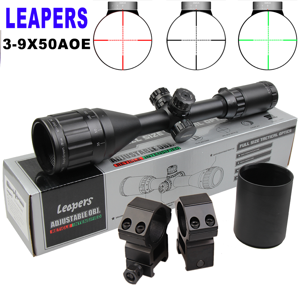 Leapers 3-9x50AOE Hunting Rifle Scopes Sniper Scope Tactical Optics Scopes R/G/B Illuminated For Rifle Air Guns and sniper цена
