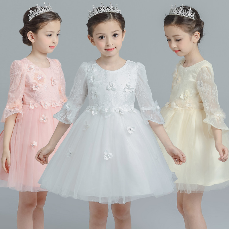 2017 New 3D Flower Girls Dress For Wedding Events Party Princess Birthday Dress Frocks Ceremonies Ball Gowm Dress Half Sleeve 4pcs new for ball uff bes m18mg noc80b s04g