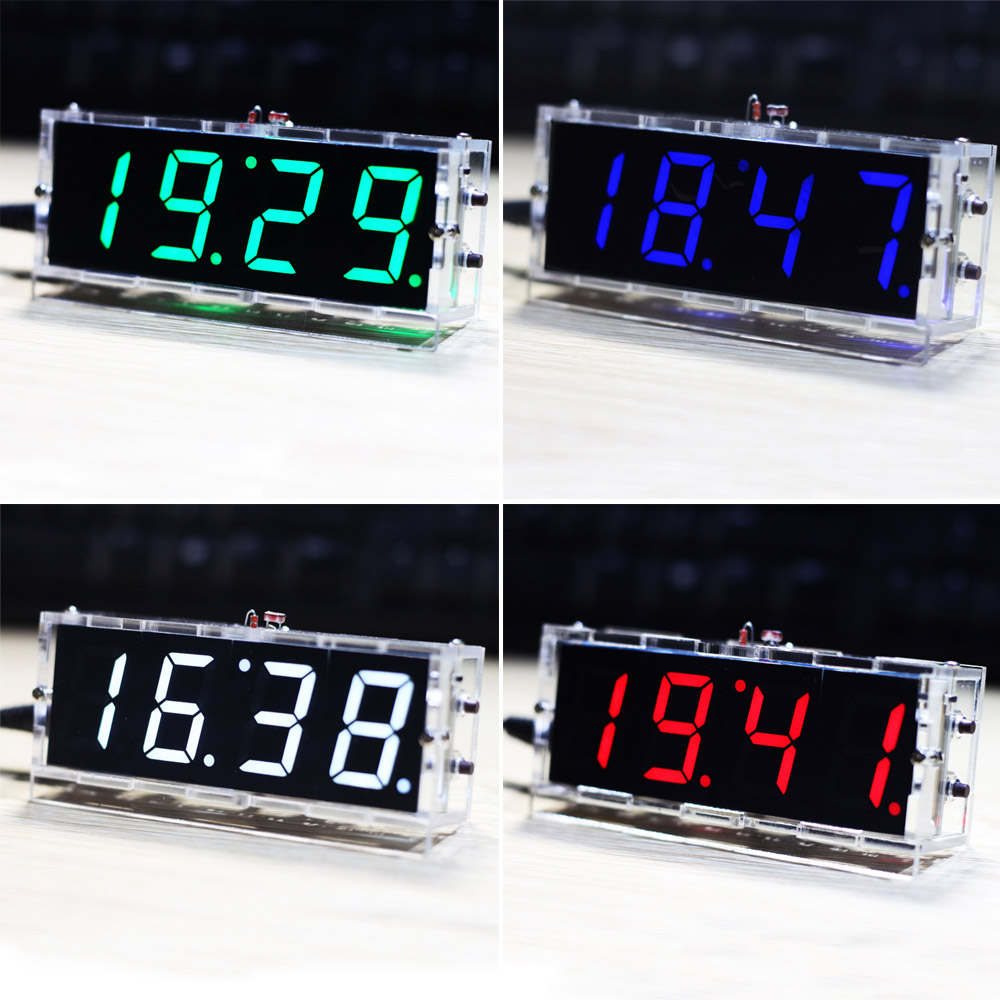 Digital LED Clock Kit Light Control Temperature Date Time Compact 4-digit Display with Transparent Case DIY 100 pcs ld 3361ag 3 digit 0 36 green 7 segment led display common cathode