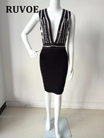 Autumn Winter Dress Sexy Celebrity Women V Neck Hand Made Beading Backless Wrap Slim Midi Bodycon