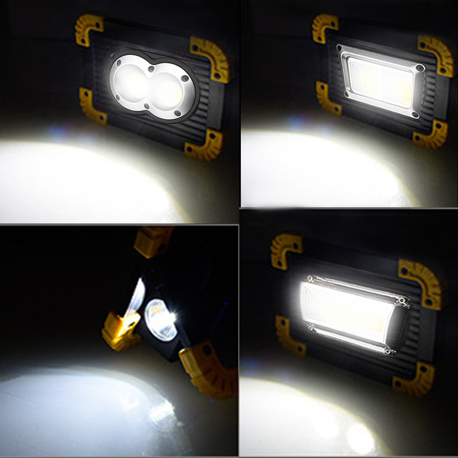 Купить с кэшбэком LED Portable Spotlight Rechargeable LED Work Light 18650 Battery Outdoor Flood Light For Hunting Camping Led Latern Flashlight