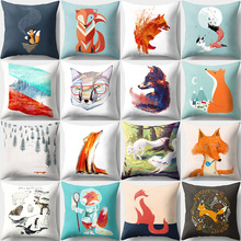 Fox Cushion Cover Cartoon Animal Pattern Peach Skin Sofa Bedroom Decorative Pillowcases Home Living Room Decor Accessories 45x45 цены