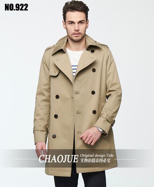 Europeus e americanos lazer dos homens lapela Trench Coat nova primavera outono dos homens magro homens Outwear roupas! Frete grátis