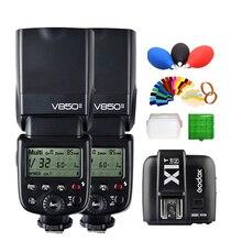 2* Godox V850II GN60 w/ 2000mAh Li-ion Battery 2.4G Wirless X System Speedlite Flash Light + X1T-N Trigger Transmitter for Nikon