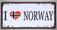 1 pc I love Norway flag sovereign team football plaques shop store Tin Plates Signs wall Decoration Metal Art Vintage Poster