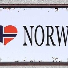 1 unidad, amo la bandera de Noruega, equipo de fútbol, tiendas de placas, carteles de hojalata, decoración de pared, cartel de Arte de Metal Vintage