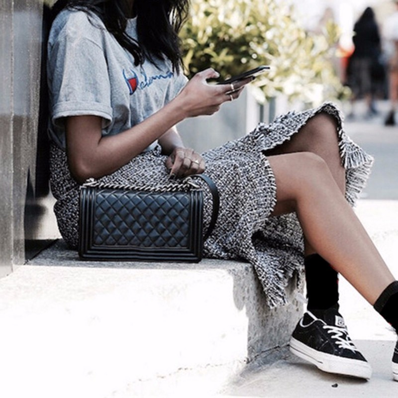 Printemps Taille Jupe Midi 2018 Gland Vintage Jupes De Twotwinstyle Femelle Gray Mode Haute Vêtements Irrégulière Patchwork Split Plaid wqx75BnCA