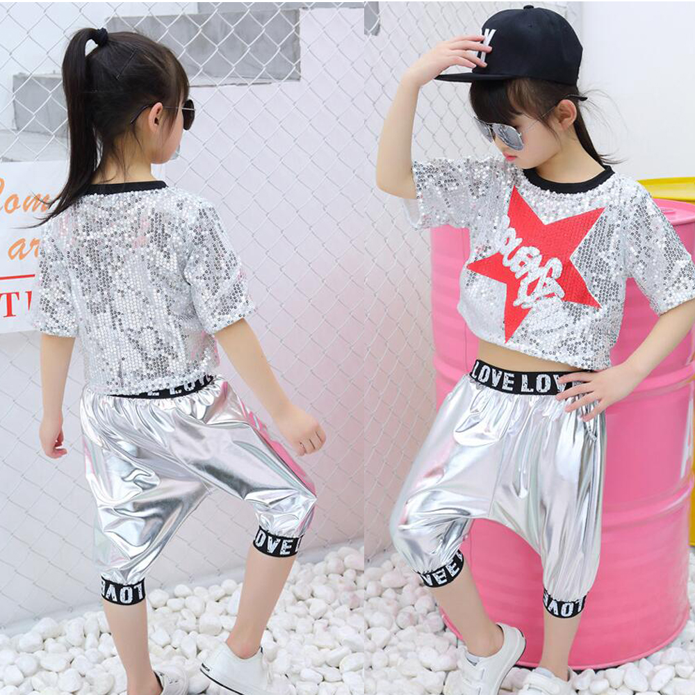 Girls Sequin Ballroom Top And Pant Set Jazz Hip Hop Dance Competition Costume Set For Kids Dancing Clothes Wear Outfits